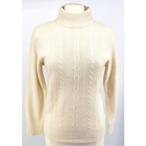 Crystal Womens Sweater Long Sleeve Cable Knit M